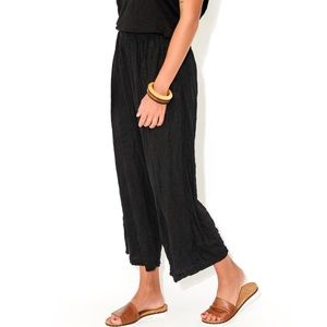 Black Crinkled Hi-Waist Wide Leg Lounge Pants U2B